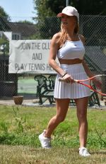 Summer Monteys-Fullum Flashes her bum as she arrives at a tennis court in Canterbury
