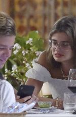 Taylor Hill Having dinner in Portofino with boyfriend Daniel Fryer