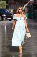 Vogue Williams Stuns in blue flowing dress exits Heart radio