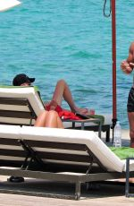 Yazmin Oukhellou Sunbaths in Majorca during their summer holiday in Spain