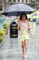 Zoe Hardman Arriving Heart radio in yellow miniskirt in London