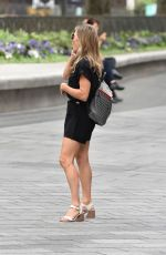 Zoe Hardman Pictured arriving at Heart radio in black playsuit in London