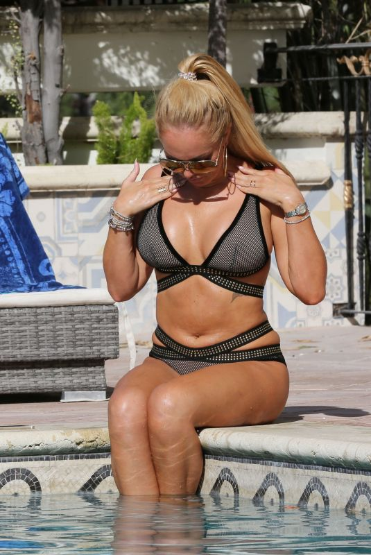 Aisleyne Horgan Wallace In Bikini Poolside in Los Angeles