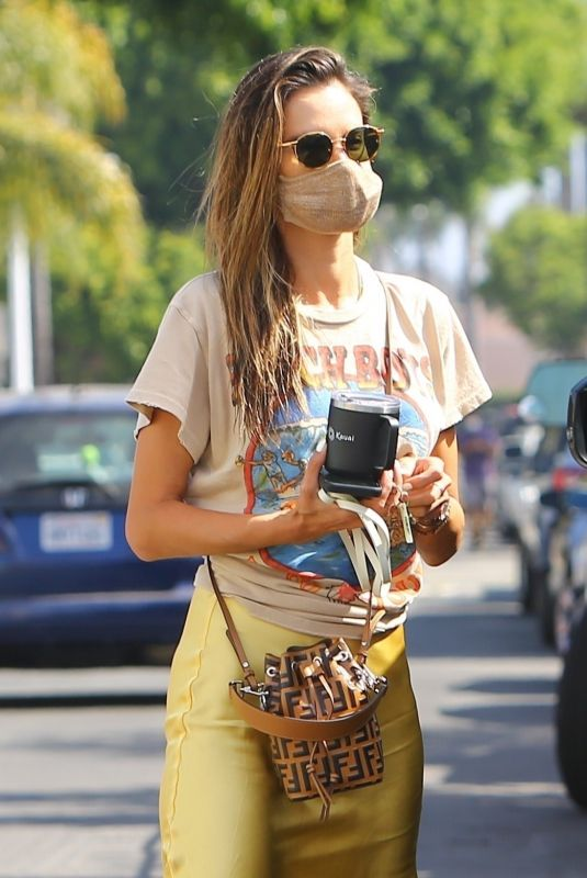 Alessandra Ambrosio Dons a colorful ensemble while arriving at Slim Pictures Studio in Los Angeles