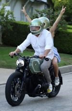 Ana De Armas Out for a ride with Ben Affleck on his motorcyle in Los Angeles