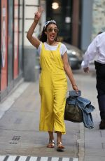 Anita Rani Wears quirky yellow dungarees at BBC Wogan house in London