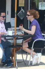 Charlotte Kirk Has a meeting at a cafe in LA