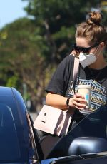 Christina Schwarzenegger Seen making a stop at Blue Bottle Coffee to kick start her day in Brentwood