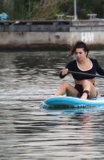 Claudia Fragapane Seen paddleboarding around the harbourside in Bristol