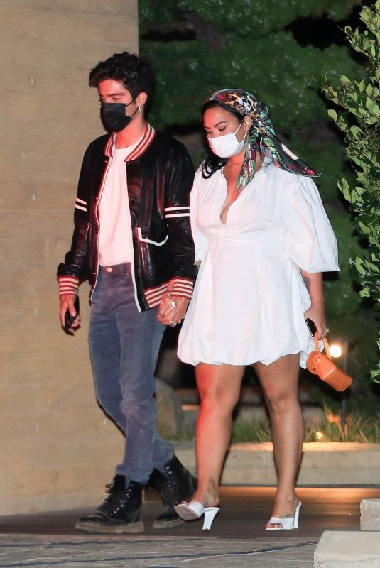 Demi Lovato Stepping out for a date night with her fiancé at Nobu in Malibu