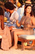 Demi Rose Enjoying the sunset with friends at Experimental Beach in Formentera, Spain