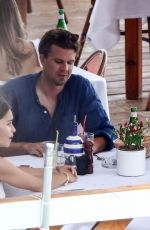 Emilia Clarke Having some Lunch in Positano, Italy