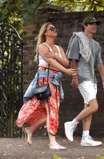 Emily Atack Enjoys a wine fuelled daytime date with a mystery young man at The Flask pub in Highgate