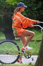 Emily Ratajkowski Heads out on a bike ride with a girlfriend in The Hamptons