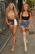 Eve Gale, Jess Gale and Demi Jones head out for a girls night out at Ours restaurant, Kensington