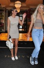 Georgia Steel Enjoys lunch date with her Friend Caitlin as they leave The Ivy in Manchester