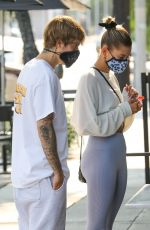 Hailey Bieber & Justin Bieber Are seen waiting in line at a local breakfast joint in West Hollywood