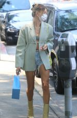 Hailey Bieber Puts on a very leggy display while out shopping in Beverly Hills