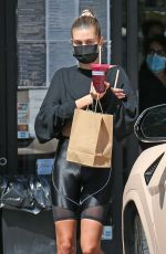 Hailey Bieber Stops for a healthy juice after her workout in West Hollywood