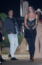 Ireland Baldwin Out to dinner in a corset in Los Angeles