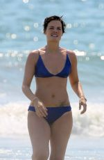 Jaimie Alexander Hits the beach with a girlfriend to cool off with a dip in the ocean in Malibu