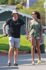 Joel Kinnaman and Kelly Gale take their dogs to the dog park in Venice Beach