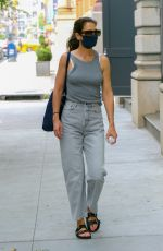 Katie Holmes Wears a grey ensemble with a touch of black and blue while out and about Tuesday afternoon in New York