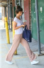 Katie Holmes Wears an animal print mask while out in Brooklyn