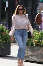 Kelly Brook In tight denim and detailed blouse at Heart radio