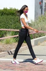 Lais Ribeiro Flashed a peace sign in Malibu while shopping at Free People at the Malibu Country Mart