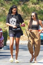 Lais Ribeiro Shows off her new hairstyle while out with a friend for a spa day in Malibu