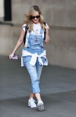 Laura Whitmore Nails summertime chic in dungarees and cute t-shirt at BBC studios in London