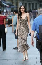 Lilah Parsons Looks absolutely sensational in leopard print dress at Heart radio - London
