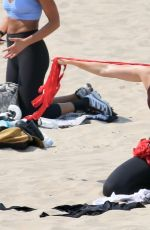 Maria Sharapova Working out on the beach in Los Angeles