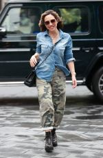 Myleene Klass Looks chic in camouflage and utility boots at the Smooth Radio Studios in London