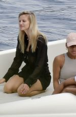 Nibar Madar Tans it up on her boat out to sea whilst on holiday with friends in Portofino