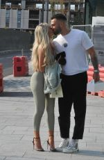 Paige Turley Gets a Birthday Kiss from Boyfriend Finn Tapp as they are seen out in Manchester