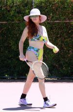 Phoebe Price In a bikini and hitting tennis balls at the courts in Los Angeles
