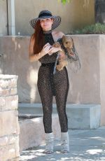 Phoebe Price In a sparkly outfit while out with her dog in Los Angeles