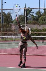 Phoebe Price Seen smiling and posing at the tennis courts on Friday in Los Angeles