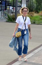 Sally Carman Flashes a sleeve full of tattoos as she pictured leaving the Corrie Studios on Mediacity in Salford Quays