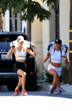 Scarlet Rose and Sophia Rose Stallone together during an outdoor workout session in West Hollywood