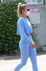 Sofia Richie In Cameltoe in Blue Leggings While Walking in Los Angeles