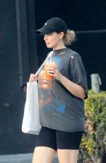 Stephanie Corneliussen Picks up some juice while out running errands with a friend in West Hollywood