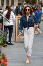 Zoe Hardman Looks perfect in denim jacket and jeans at Heart radio in London