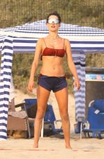 Alessandra Ambrosio Plays a game of volleyball with friends in Malibu