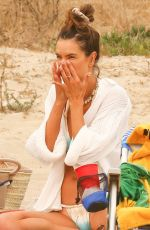 Alessandra Ambrosio Plays volleyball on the beach with friends in Malibu