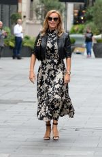 Amanda Holden At Heart radio studio wearing a floral monochrome dress in London