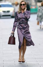 Amanda Holden Flashes legs and shows off her jaw dropping figure in a stylish satin shirt midi dress at the Studios in London