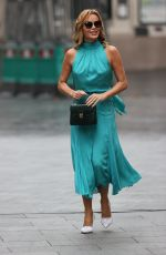 Amanda Holden Wears stylish blue dress at Heart radio in London